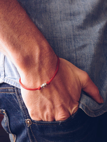 Skull bracelet for men, red cord - shani-adi-jewerly