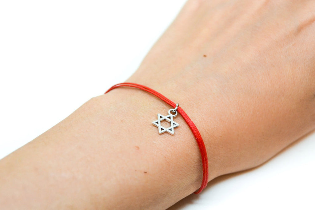 Star of David bracelet, dangle silver star of david, red bracelet for women, Bat Mitzvah gift, Jewish, Hebrew Jewelry from Israel, judaica