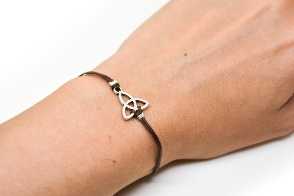 Brown bracelet with silver Trinity charm for women - shani-adi-jewerly