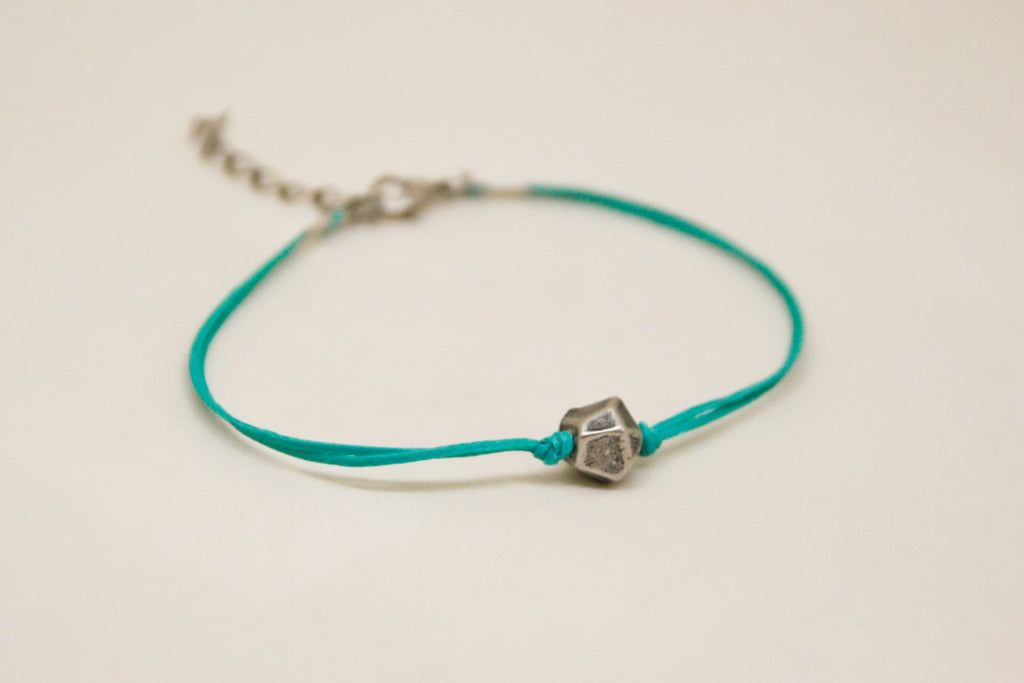 Turquoise bracelet, cord bracelet with silver nugget charm, teal string, elegant bracelet, gift for her, minimalist jewerly, silver bead