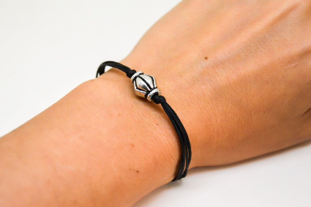 Cord bracelet with silver bead charm, Black cord - shani-adi-jewerly