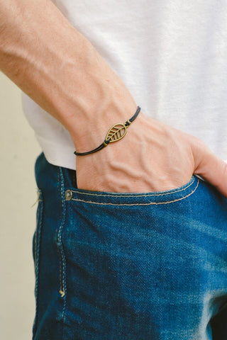 Bronze Leaf bracelet for men, black cord