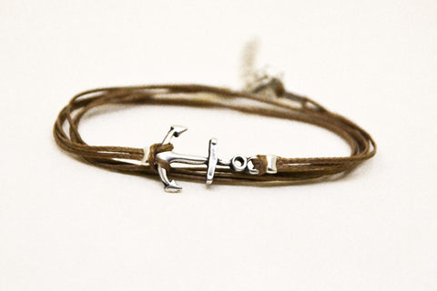 Brown wrapped bracelet with silver anchor charm - shani-adi-jewerly