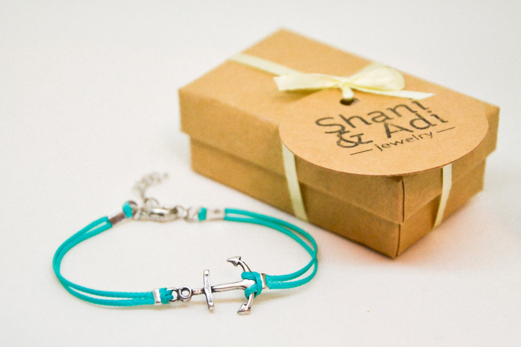 Turquoise cord bracelet with a silver plated anchor charm - shani-adi-jewerly