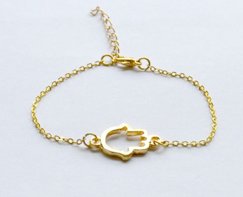 Gold chain bracelet with gold Hamsa charm - shani-adi-jewerly
