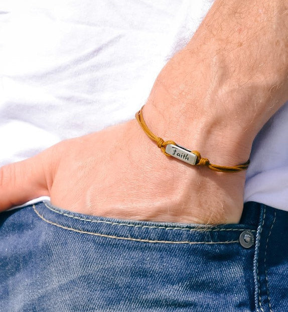 Faith bracelet for men with brown cord