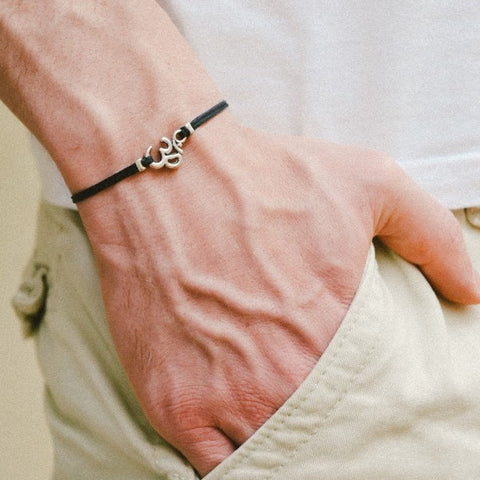 Om bracelet for men, black cord - shani-adi-jewerly