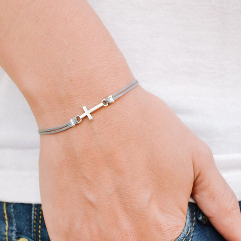 Women bracelet with silver cross charm - shani-adi-jewerly
