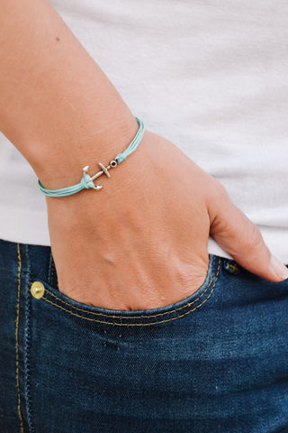 Anchor bracelet, multi-cord bracelet with a silver plated anchor charm, nautical jewelry, turquoise strings. minimalist jewelry, sailor, sea