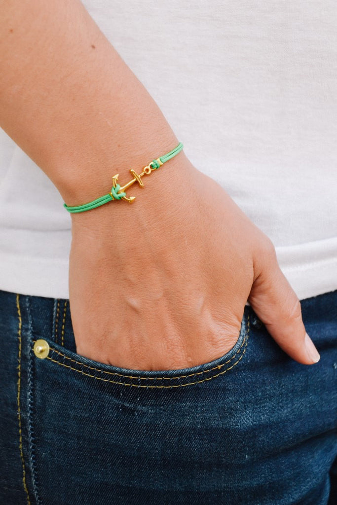 Anchor bracelet for women, green cord bracelet with a gold plated anchor charm. dainty bracelet, minimalist nautical jewelry, gift for her