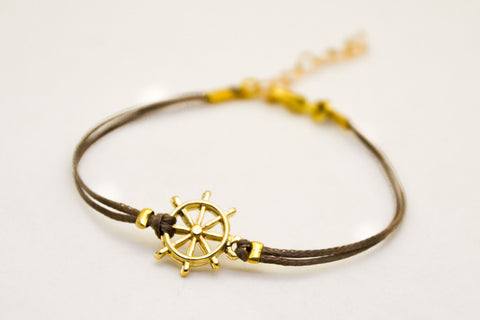 Ship wheel Bracelet, cord bracelet with a 14k gold plated helm charm, brown string, nautical jewelry, sailor, sea, summer jewelry, beach