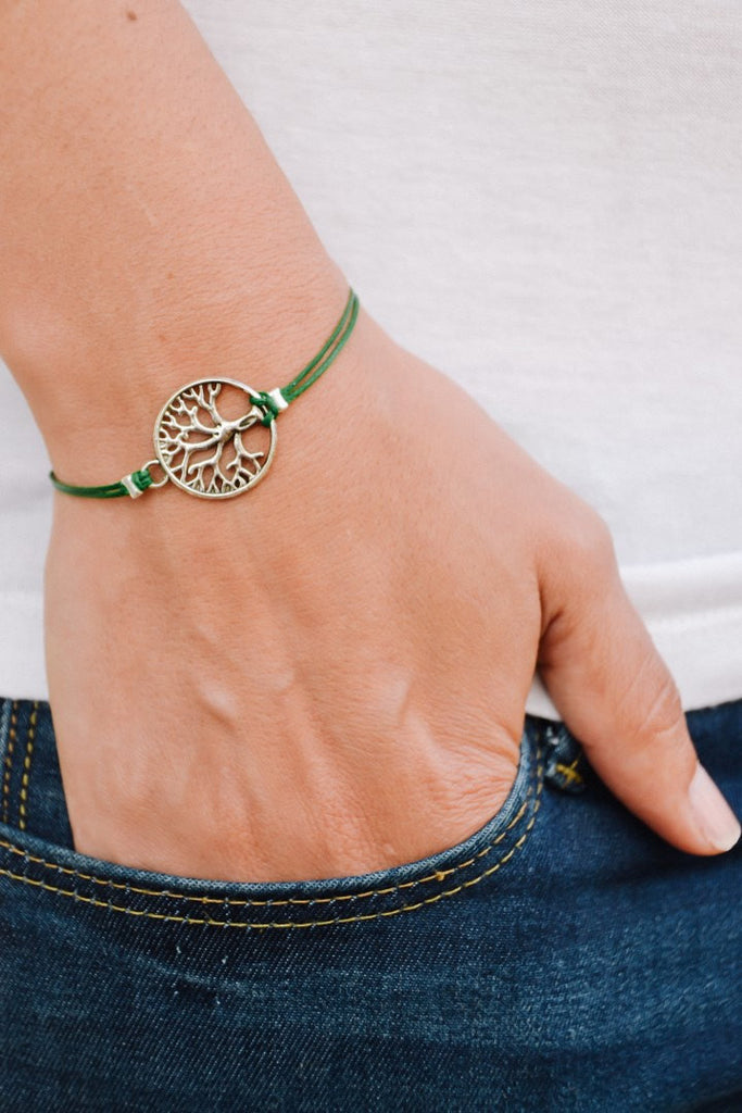 Silver tree of life bracelet, green cord - shani-adi-jewerly