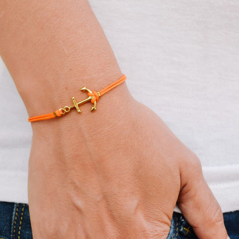 Gold anchor bracelet, orange string - shani-adi-jewerly