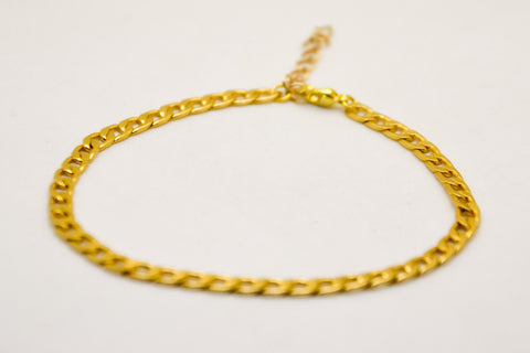Elegant 14k gold plated flat chain bracelet - shani-adi-jewerly