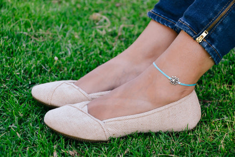 Blue ankle bracelet with silver lotus charm - shani-adi-jewerly