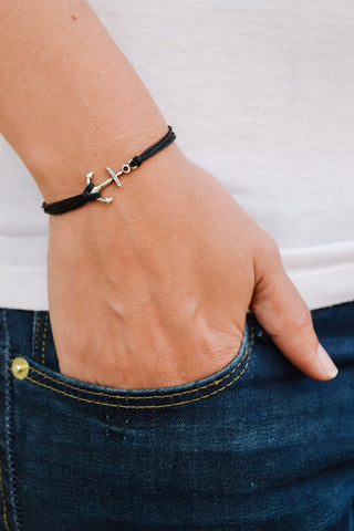 Silver anchor bracelet, double black cord - shani-adi-jewerly