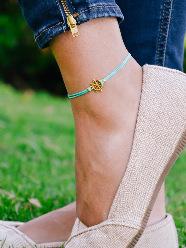 Ankle bracelet with 14k gold plated ship wheel charm, turquoise anklet, Mothers day gift - shani-adi-jewerly
