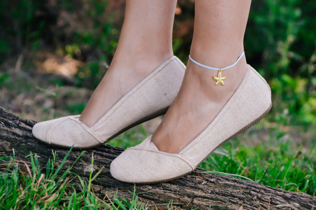 Ankle bracelet with a gold plated starfish dangle charm, blue cord - shani-adi-jewerly