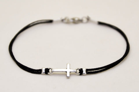 Cross bracelet for men with black cord - shani-adi-jewerly