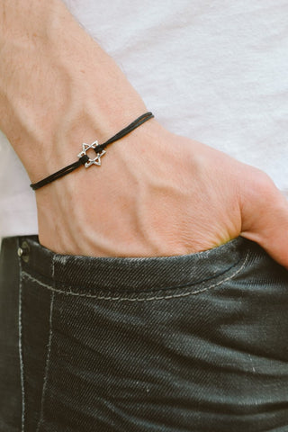 Star of David men's bracelet, black cord - shani-adi-jewerly
