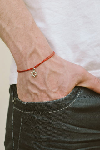 Silver dangle Star of David men's bracelet - shani-adi-jewerly