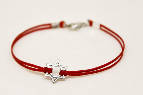 Silver Star of David men's bracelet, red cord