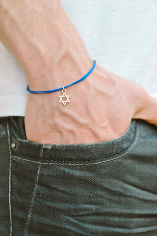 Silver dangle Star of David men's bracelet, blue cord - shani-adi-jewerly