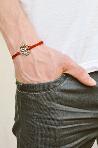 Tree of life bracelet for men, red cord - shani-adi-jewerly