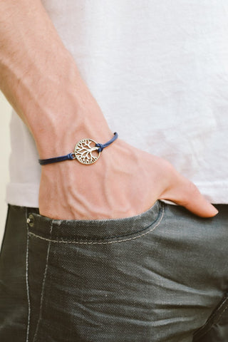 Tree of life bracelet, men's bracelet, silver tree charm, blue cord, bracelet for men, gift for him, spiritual jewellery, yoga bracelet, zen