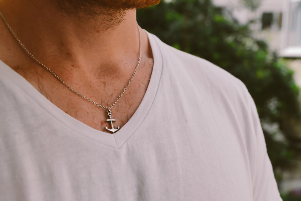 Silver chain anchor necklace for men