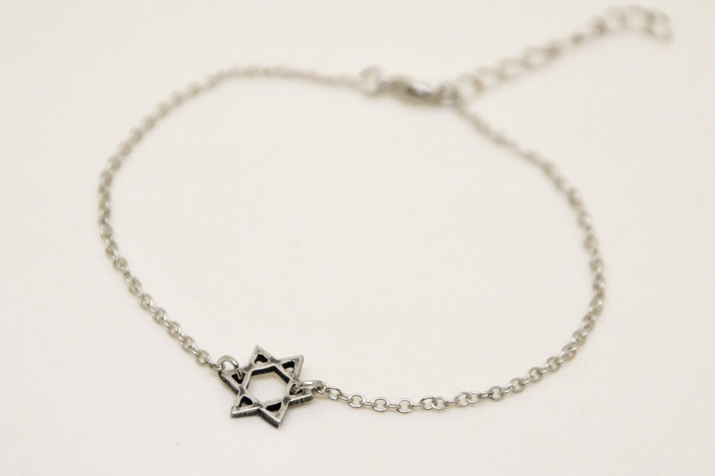 Star of David  women's bracelet, stainless steel chain - shani-adi-jewerly
