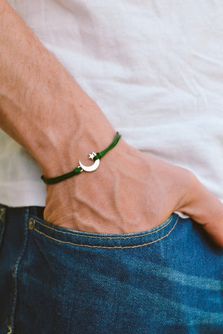 Men's bracelet with silver crescent moon charm, green cord - shani-adi-jewerly