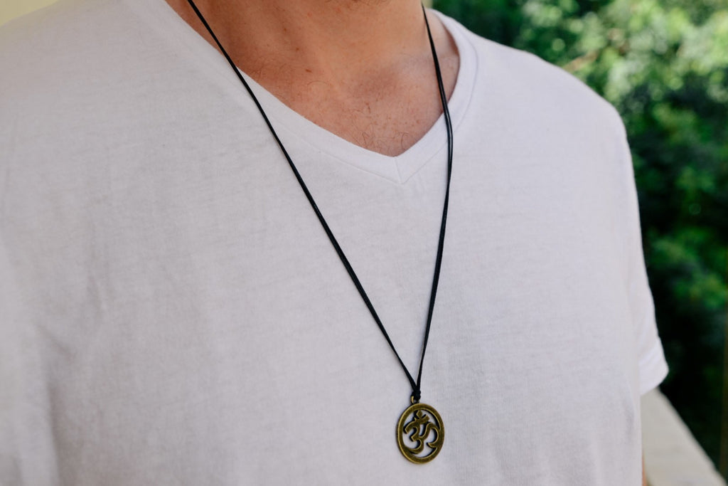 Men's necklace with a black cord and a bronze ohm pendant, Om necklace for men, groomsmen gift for him, men's jewelry, , hindu