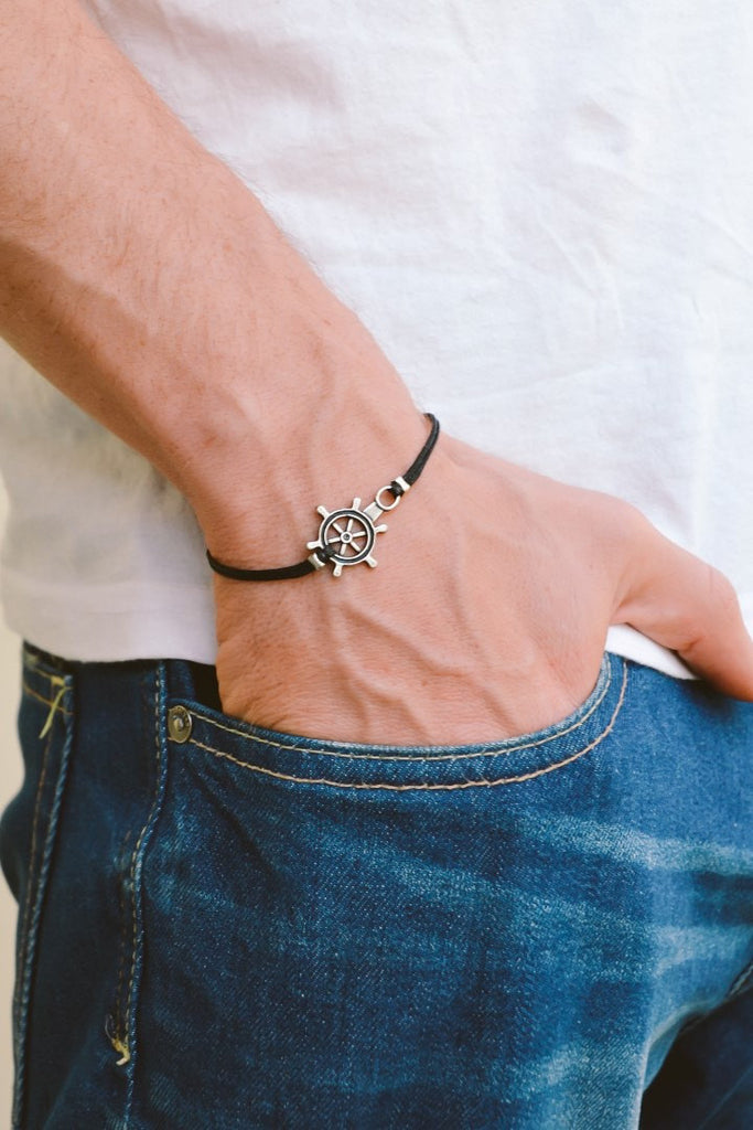 Silver ship wheel bracelet for men, black cord - shani-adi-jewerly