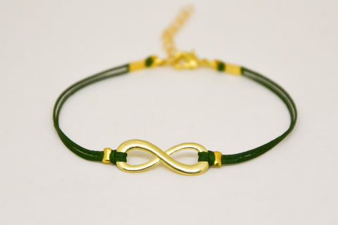 Infinity bracelet, green cord bracelet with a gold tone endless charm, Yoga bracelet, gift for her, minimalist jewelry, friendship, zen