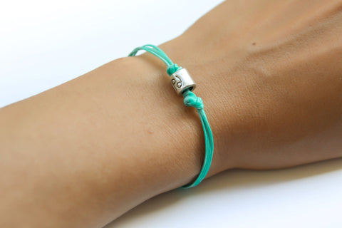 Zodiac signs bracelet, cancer sign, turquoise cord - shani-adi-jewerly