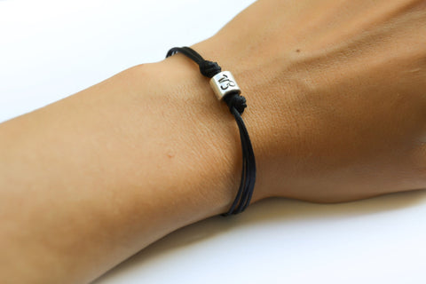 Zodiac signs bracelet, Capricorn sign, black cord - shani-adi-jewerly