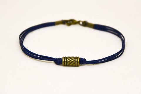 Bronze tube bracelet for men, blue cord
