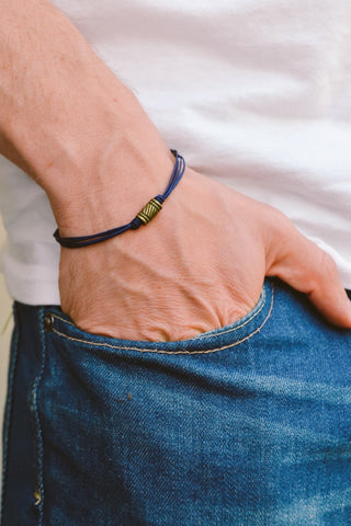 Father's day gift, Blue cord bracelet for men, men's bracelet, bronze tube charm, blue cord, gift for dad, mens jewelry, men's wristband