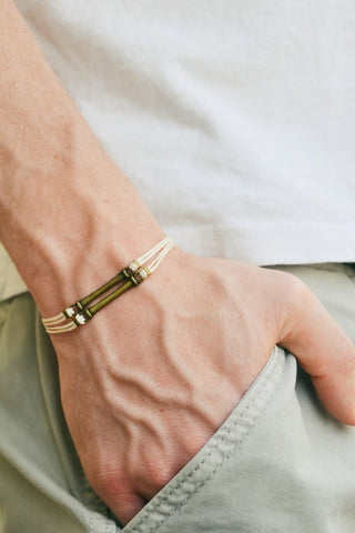 Double bronze bars bracelet for men, beige cord - shani-adi-jewerly