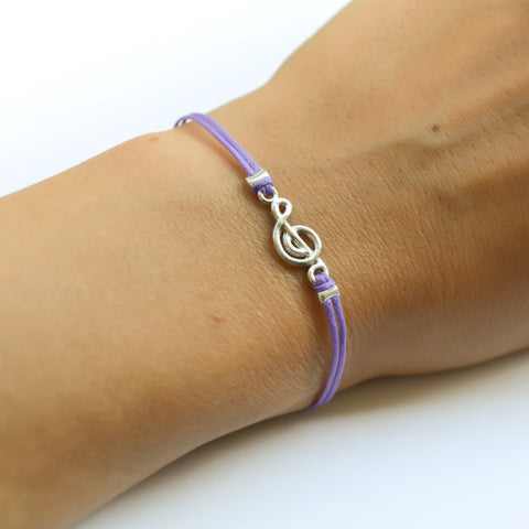 Treble clef bracelet, purple cord bracelet with a silver G Clef charm, music jewelry, musical note, music gift idea, silver treble clef