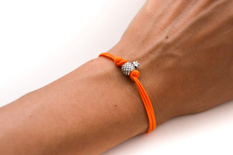 Pineapple bracelet, orange cord bracelet with a silver pineapple charm, fruit bracelet, summer jewelry, gift for her, minimalist, friendship