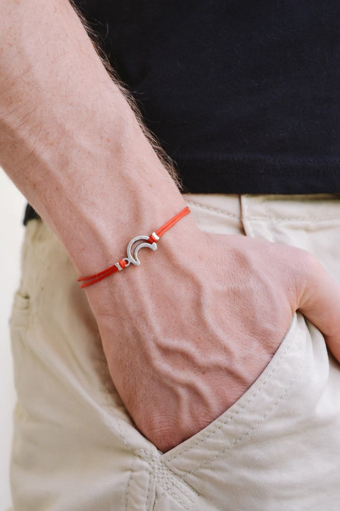 Silver crescent moon bracelet for men, red cord - shani-adi-jewerly