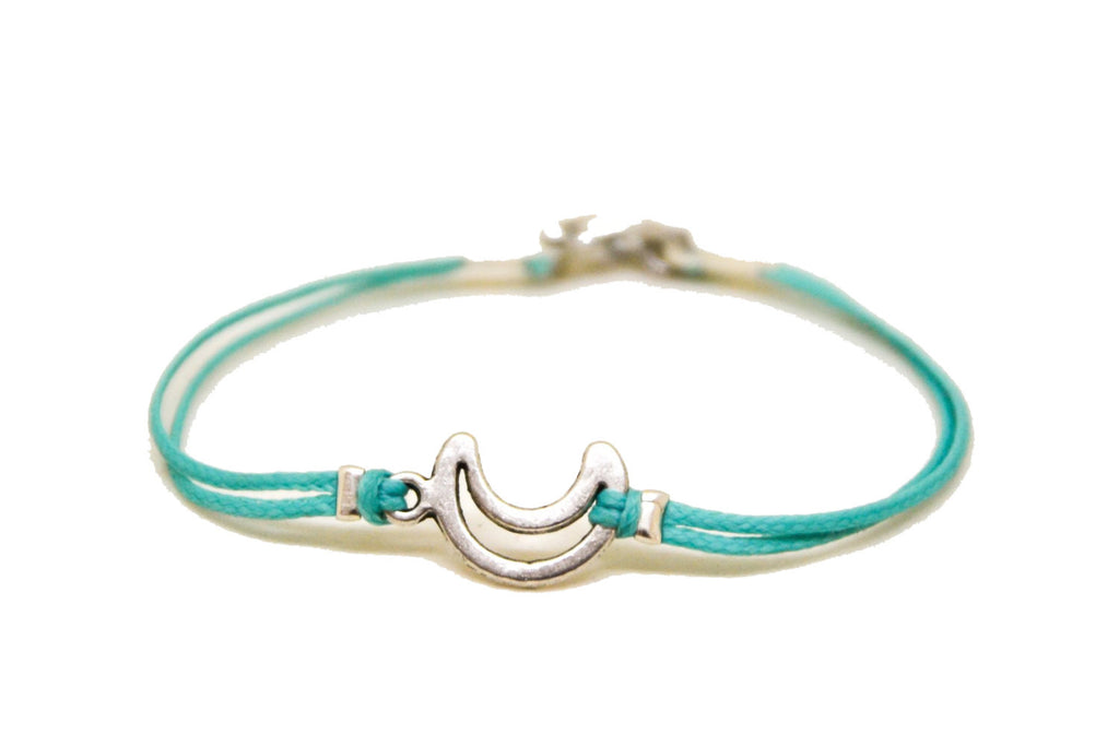 Crescent moon bracelet for men, turquoise cord