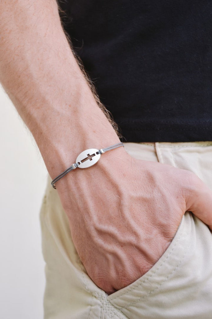 Silver Cross bracelet for men, gray cord, - shani-adi-jewerly
