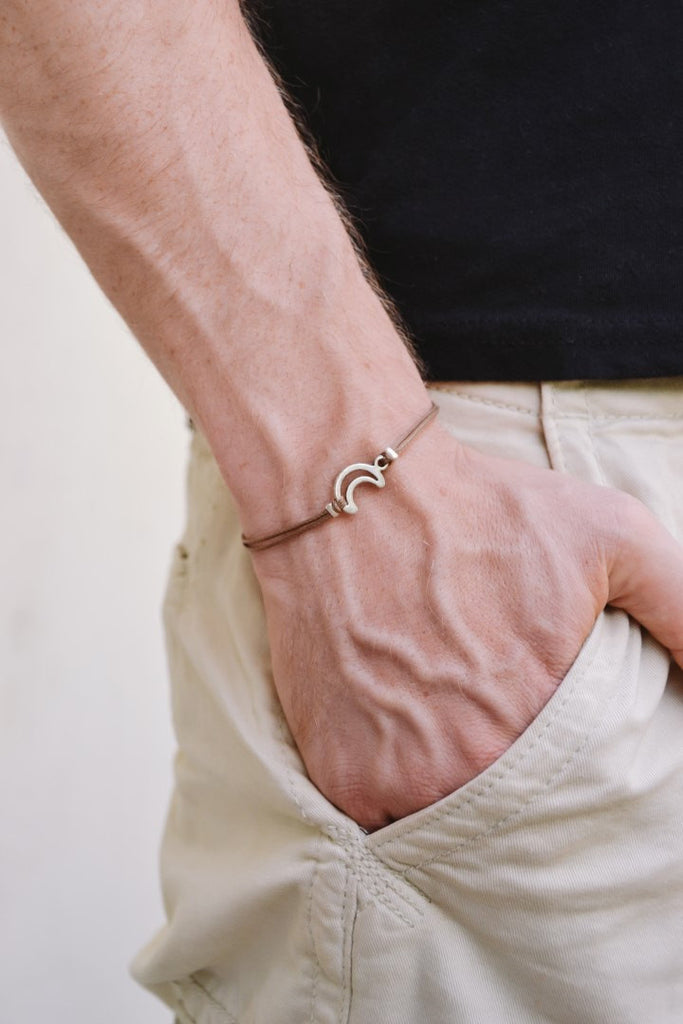 Crescent moon bracelet for men, brown cord - shani-adi-jewerly