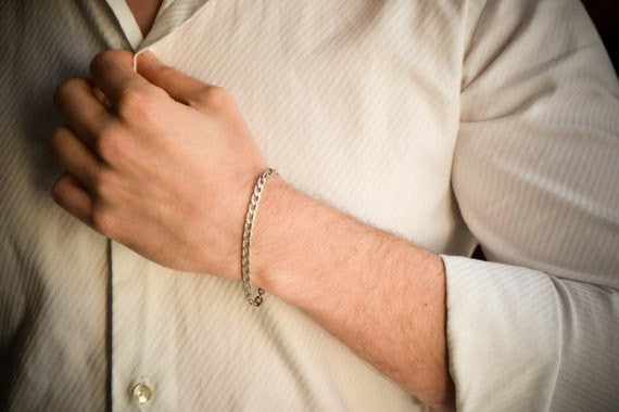 Silver Cuban link bracelet for men - shani-adi-jewerly