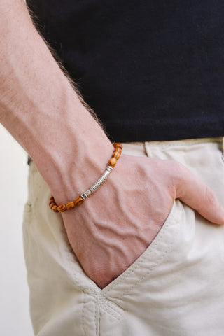 Wood beads bracelet for men, silver bar