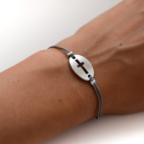 Women bracelet with silver cross round charm, Gray cord - shani-adi-jewerly