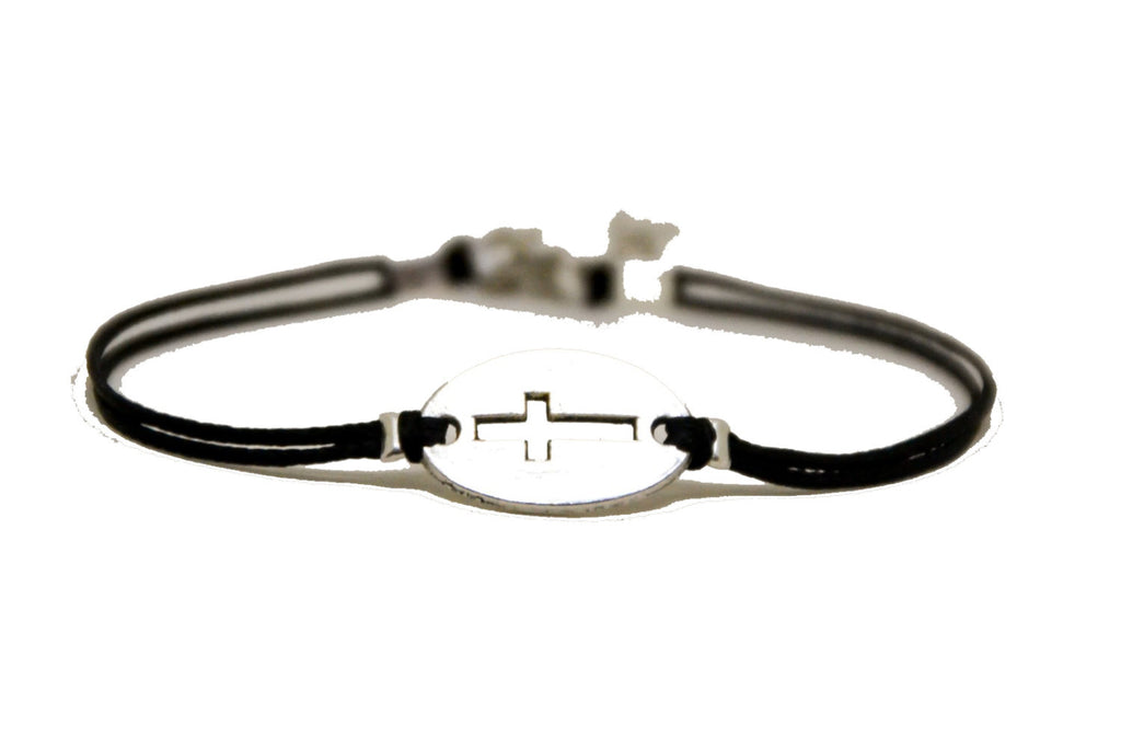 Women bracelet with silver cross round charm - shani-adi-jewerly